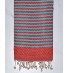 honeycomb red beach towel with stripes 1 cm middle blue color