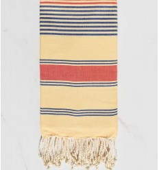 cream yellow, jean blue and coral red dina beach towel