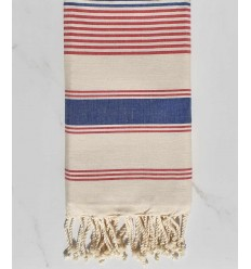 cream white, red and blue jeans dina beach towel