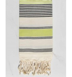 cream white, meadow green and anthracite dina beach towel