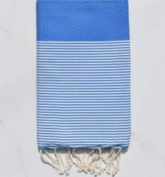 Honeycomb gypsy blue striped white fouta