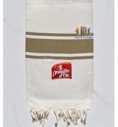 cream white beach towel strips khaki embroidered moulin d'or