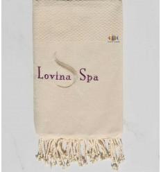 light beige plain embroidered beach towel Lovina SPA
