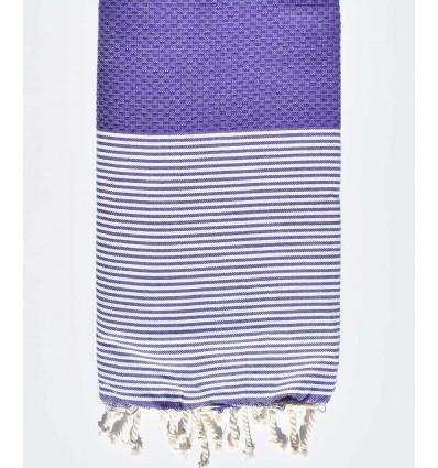 HONEYCOMB purple striped white fouta