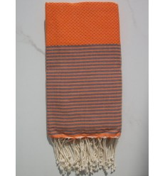 HONEYCOMB orange striped grey fouta