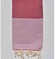 HONEYCOMB amaranth striped white fouta