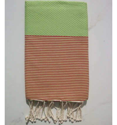 HONEYCOMB pistachio green striped red fouta