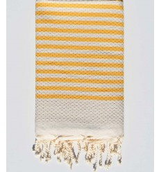 honeycomb light beige beach towel with stripes 1 cm amber