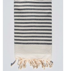 honeycomb light beige beach towel with stripes 1 cm charcoal color