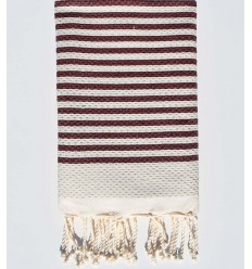 honeycomb light beige beach towel with stripes 1 cm persian plum color
