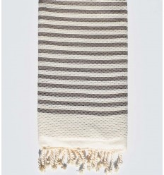 honeycomb light beige with taupe stripes beach towel