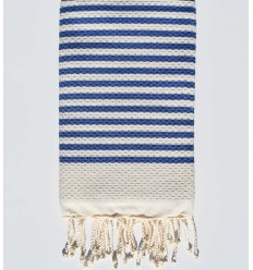 Honeycomb light beige striped 1 cm blue stripes fouta