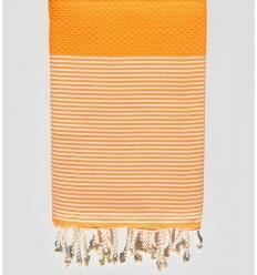 HONEYCOMB orange striped white fouta