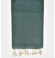 Plain honeycomb deep jungle green fouta
