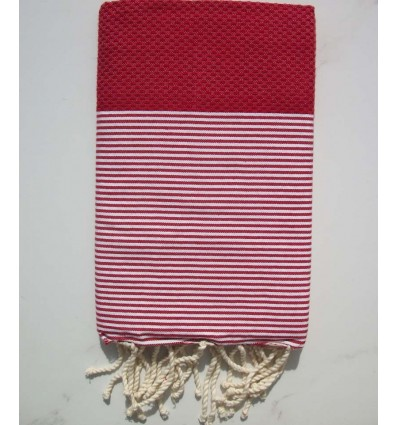 HONEYCOMB cinnabar red striped white fouta