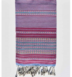 Dark magenta with blue stripes arabesque beach towel
