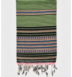 Arabesque green striped black fouta