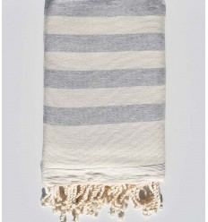 cream white and grey beach towel sponge