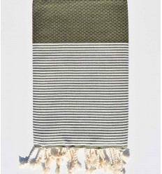 Honeycomb military green striped white fouta