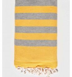 Yellow and gray beach towel sponge
