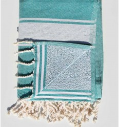teal green beach towel sponge