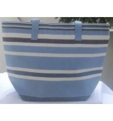 Light blue, mineral blue, white and black gray beach bag