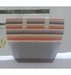 Light gray, cream white, light red, mustard and coffee beach bag