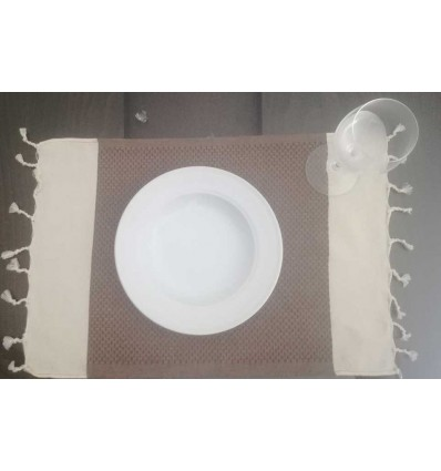 Cream and brown white mini towel