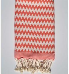 Beach towel zigzag coral