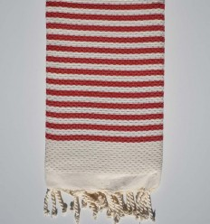 Honeycomb striped 1cm red stripes fouta