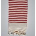 Honeycomb striped 1cm red stripes fouta