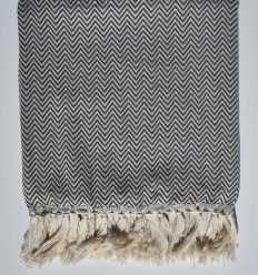 Slate gray chevron throw blanket