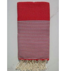 Honeycomb red striped white beach towel
