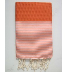 HONEYCOMB pumkin striped white fouta