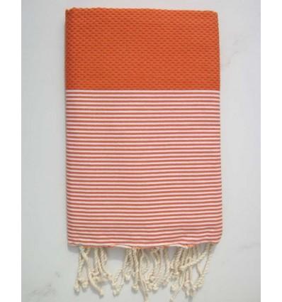 HONEYCOMB pumkin striped white fouta