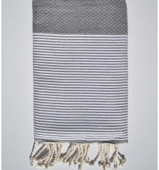 Honeycomb light grey striped white beach towel
