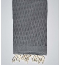 plain honeycomb medium iron gray beach towel