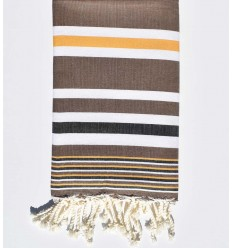 brown with mustard yellow, white and black stripes dina beach towel