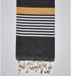 black gray with white and yellow Venetian stripes arthur beach towel