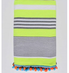 neon yellow with white and gray stripes pompon beach towel