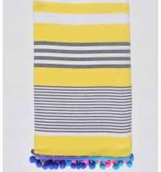 Yellow with white and gray stripes pompon beach towel