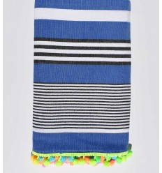 Blue beach towel striped white and black
