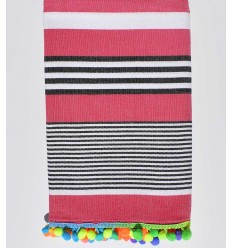 Dark pink striped white and black beach towel