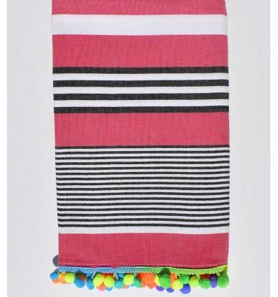 Dark pink striped white and black beach towel