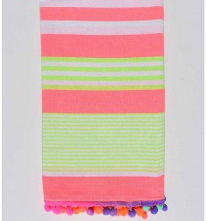 Neon pink with neon green and white stripes beach towel