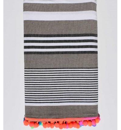 Dark beige with white and black stripes beach towel