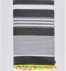 Dark gray with white and light gray stripes pompon beach towel