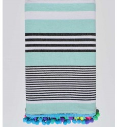 Azure blue striped white and black pompon beach towel