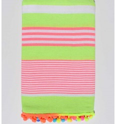 Neon green striped white and pink beach towel