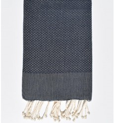 Plain honeycomb navy blue fouta